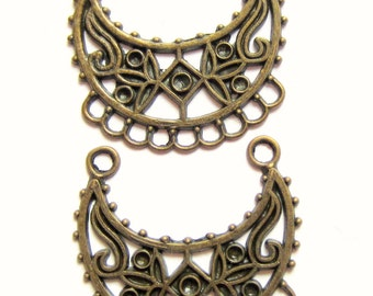 6 Antique bronze Crescent Earring chandelier filigree earring findings 34mm x 36mm Boho chic 210y (F4)