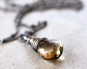 Caramel Brown Quartz Necklace, Faceted Beer Quartz Briolette Oxidized Sterling Silver Wire Wrapped Necklace - Confection