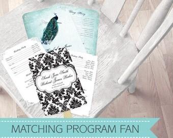 wedding ceremony program fan - printable file