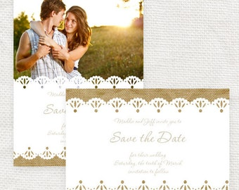 rustic wedding save the date or engagement announcement burlap and lace - diy printable file -  photo save the date or postcard country chic