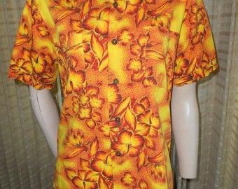 50's Classic Yellow/Orange Floral Cotton Hawaiian Shirt - Duke of Hollywood - Size S
