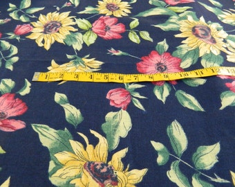 Vintage Fabric Navy Blue with Sunflowers & Burgandy Like Florals Decorator Fabric 3 Yards (453E)