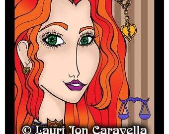 Libra Steampunk Gal (Zodiac) Larissa Stardust (TM) by Lauri Jon Stardust Steampunk (TM) 8x10 Print