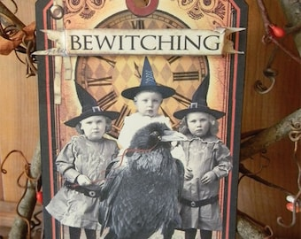 THE BEWITCHING HOUR - Primitive Halloween Tag