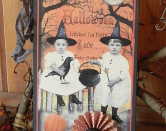 WITCHES TEA PARTY - Primitive Halloween Tag