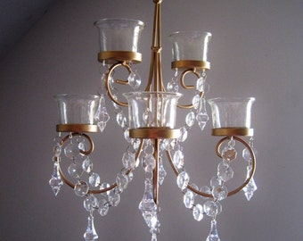 Mini Golden Scroll 6 Votive Candle Chandelier MADE TO ORDER