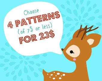 Choose 4 PDF Patterns (of 7 dolars or less) for 23 dolars