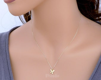 Dainty gold orchid necklace, Tiny flower pendant, gold filled chain, delicate everyday jewelry, holidays gift, wedding, bridesmaid gift