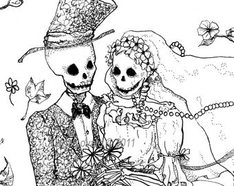 Day of the Dead Drawing -  Skeleton Bride and Groom  - Giclee print