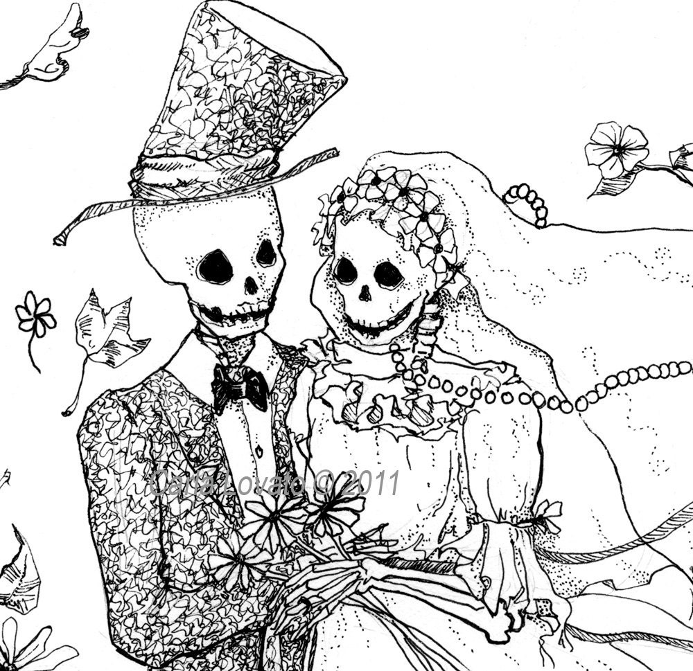 day of the dead drawing skeleton bride and groom giclee