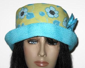 Cloche Hat Bucket Hat  Blue Yellow Flower