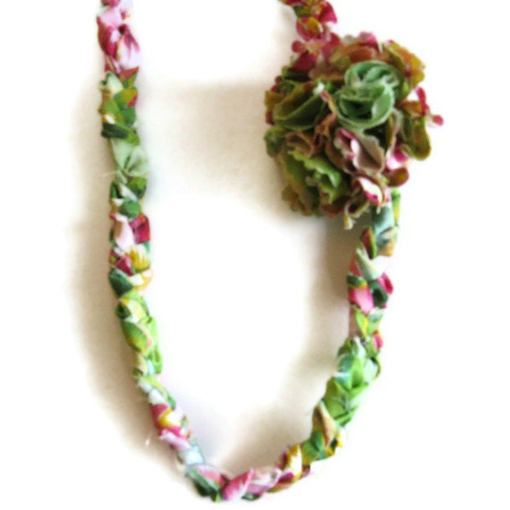 Yellow Green Pink Fabric Floral Braided  Summer  Necklace