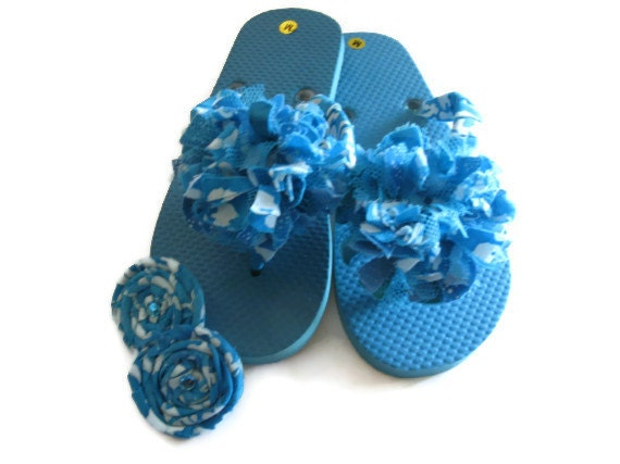 Sandals Decorated Blue with White Size Med.