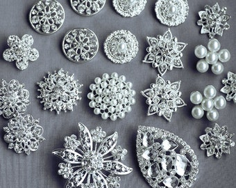 20 Assorted Rhinestone Button Brooch Embellishment Pearl Crystal Hair Comb Clip Brooch Bouquet Jewelry Supplies LARGE BT133