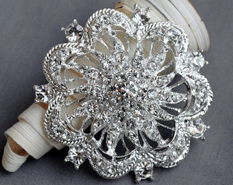 Rhinestone Brooch Embellishment Crystal Pearl Wedding Brooch Bouquet Cake Decoration Hair Comb Shoe Clip BR072