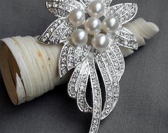 "SALE Rhinestone Brooch Component 3.5"" Crystal Pearl Bridal Hair Comb Shoe Clip Wedding Cake Decoration Invitation BR010"