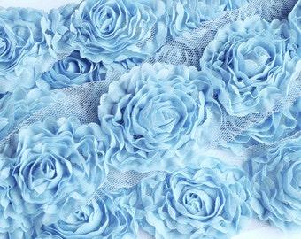 1 Yard Chiffon Rose Lace Trim Appliqué Sky Blue 3D Bridal Wedding Camellia Ruffled Flower LA087
