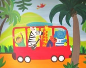 """Jungle Fun- 16x20"""" colorful abstract quality print on canvas for baby kids nursery jungle animal theme"""