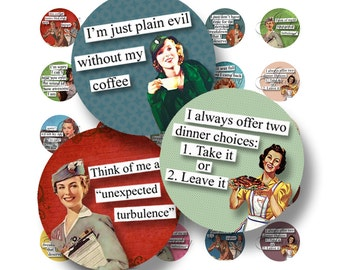Retro Brazen Broads II 1 Inch Circle Digital Downloads Scrabble Tiles Digital Collage Sheet Images Words Sayings Quotes Typography