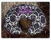 Dynasty Minky Boppy Cover-Purple Minky Swirl-Peronsalized-Zippered Closure-Baby Girl