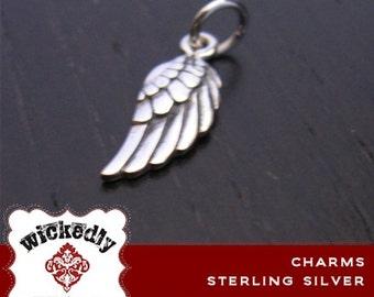 Charm - Add On - Sterling Silver oxidized Angel wing charm - ONE CHARM with sterling jump ring