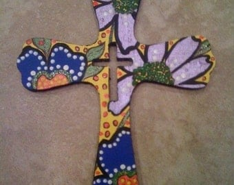 hand-painted wooden cross