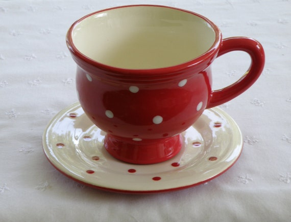 Tea Cup And Saucer 10 Oz Red Amp White Polka Dots