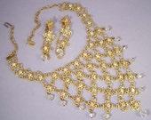 Vintage Cascading Gold and Rhinestone Necklace Set / Cascading Necklace & Earrings Set / Vintage Waterfall Necklace Set / Bib Necklace Set