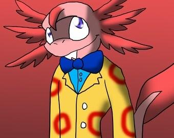Digital Download - Animal Crossing Dr. Shrunk-Inspired Printable Digital Art - Furry Art, Axolotl, Gaming, Printable Art, Magnet, Button
