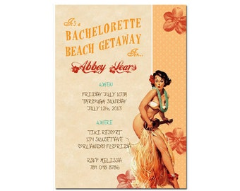 You Print Hula bachelorette party or shower invitation pin up DIGITAL customize can order