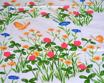 Vintage Bed Sheet - Meadow Flowers and Butterflies - Full Flat