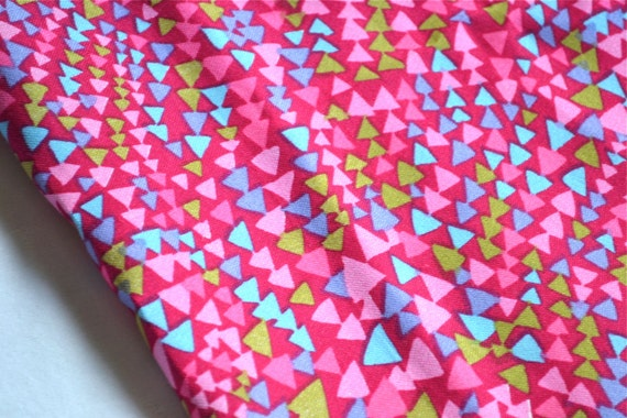 RESERVED FOR ANGIE ... Vintage Fabric - Pink Geometric - 43 x 64