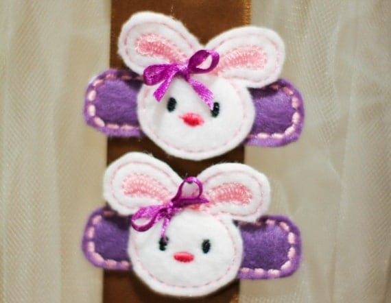 Purple Bunny Hair Clip Easter alligator Clip Felt Clip