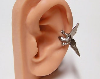 Silver Dragon Ear Cuff, dragon body wrap around ear (sw) .925