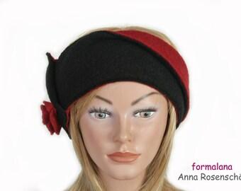 black red headband,bandeau,100% wool,flower