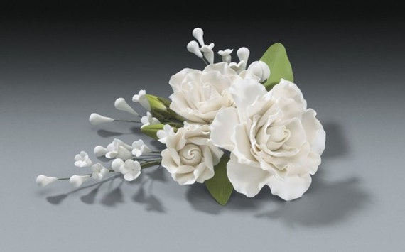 Gardenia gum paste flower spray for weddings and cake for Flower sprays for weddings