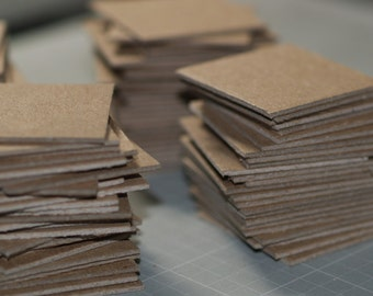 """Chipboard Squares (250) ... 1.5"""" Heavyweight Kraft Cards Craft Supplies Blank Tags Mixed Media Art Supplies Thick Mini Cards Square Cards"""