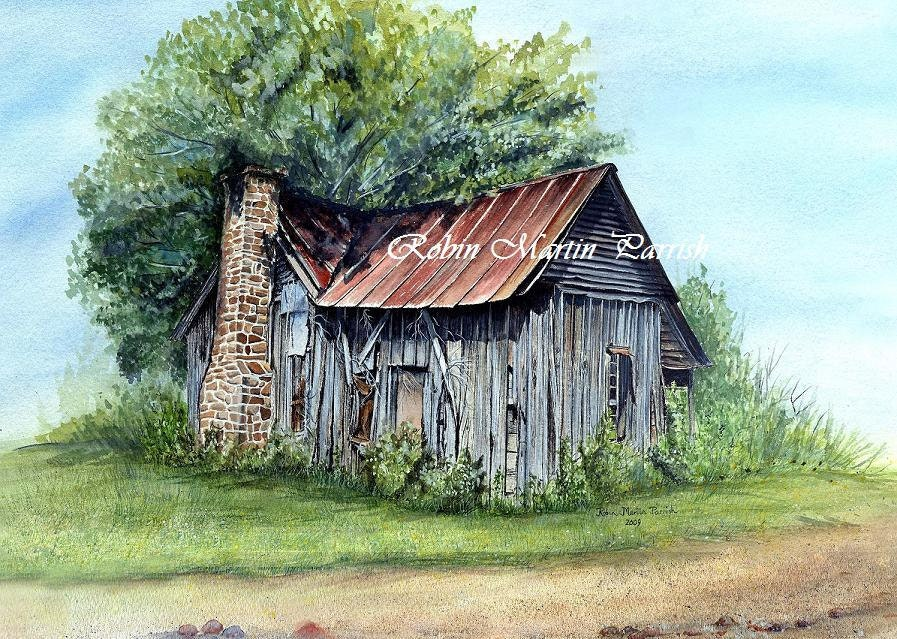 Original custom watercolor painting of old by for Watercolor barn paintings