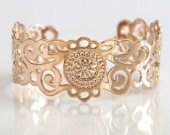 Rose Gold cuff, Rose gold bracelet, rose gold jewelry, dainty rose gold bracelet, delicate rose gold cuff, thin rose gold bracelet