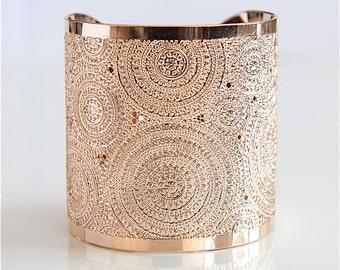 Rose Gold cuff bracelet, mandala,modern jewelry, Rose gold bracelet, dots and circles, wide gold cuff bracelet, hammered gold cuff bracelet
