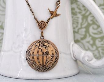 ONE  WORLD antiqued brass globe  locket necklace
