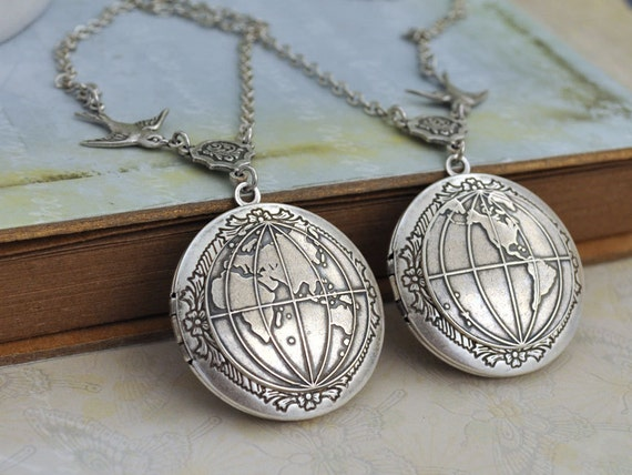 silver locket necklace set of 2 -YOU COMPLETE My WORLD - antiqued silver globe  locket necklace set