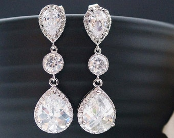 Cubic zirconia Bridal Earrings Wedding Bridal Jewelry Dangle Earrings with cubic zirconia connectors tear drop Earrings Bridesmaid earrings