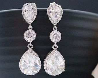 Cubic zirconia Bridal Earrings Wedding Bridal Jewelry Dangle Earrings with cubic zirconia connectors tear drop Earrings Bridesmaid earrings