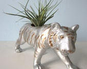 Upcycled Toy Planter - Large Silver and Gold Striped Tiger with Air Plant