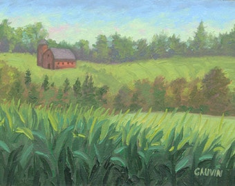 Original Vermont Corn Field Oil Painting