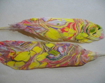 Hand Marbled Parrot  Feather, Dipped In Marbling Paint, Sunshine Yellow, Pink, Purple UNIQUE  for Feather Craft