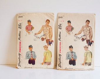 Vintage 1940s Boys Shirt Simplicity Pattern 2049 Size 10 or 12