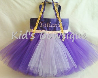 Monogrammed Purple Tutu Bag - Tutu Tote to add to your Disney Princess Rapunzel Halloween Costume