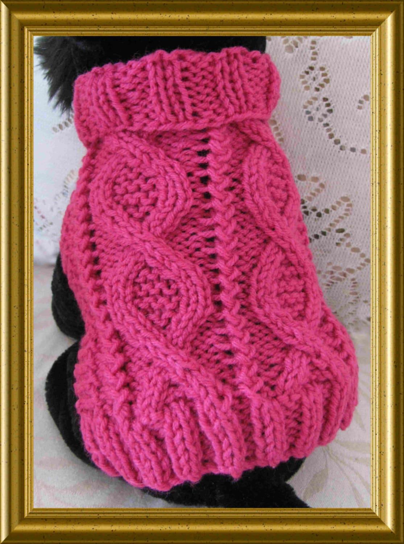 Dog sweater Knitting pattern Aran twists called Entwined Paths